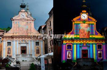 Proiezione architetturale mappata sulla facciata di una chiesa