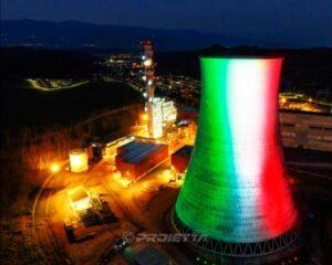 Proiezione della bandiera italiana