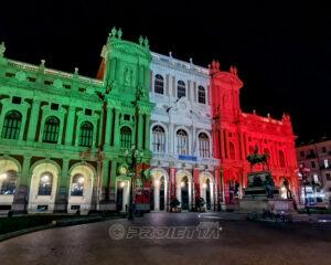 Proiezione del Tricolore - Palazzo Carignano Torino