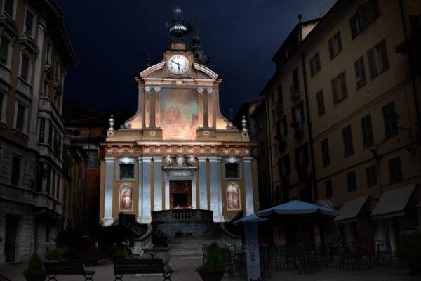 illuminazione mappata architetturale chiesa Mondovì